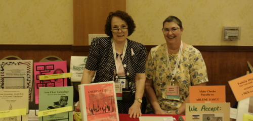Arlene Eakle, with her Webmaster Kathryn Bassett Selling Genealogy Books, Southern California Jamboree, June 2008