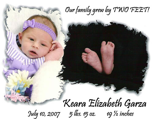 My new great-grandchild, Keara Elizabeth Garza